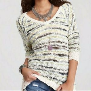FREE PEOPLE cotton knit Marl Songbird sweater